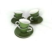 ON SALE Vintage mid century modern 1960s Japan Ironstone Kokura Ware olive green and white demitasse coffee cups