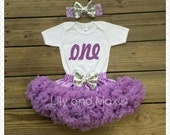 Lavender glitter ONE Outfit, Sophia the first Birthday set, Glitter ONE outfit with soft chiffon lavender pettiskirt and matching sequin bow