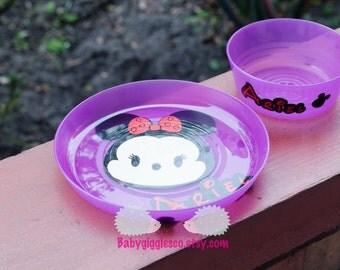 Personalized Kids Plate set - Tsum Tsum Minnie Mouse