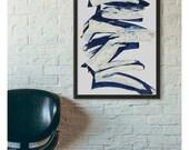 Trendy Art, Indigo Decor, Canvas Art, Interior Decor, Wall Decor Canvas, Blue Wall Art, Abstract Painting, Living Room Decor, Canvas Print