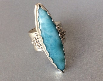 Larimar marquise Sterling Ring