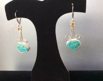 Sterling silver with turquoise and citrine earrings