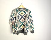 Vintage 80s Abstract Geometric SOUTHWEST sweater NATIVE American Slouchy // unisex large