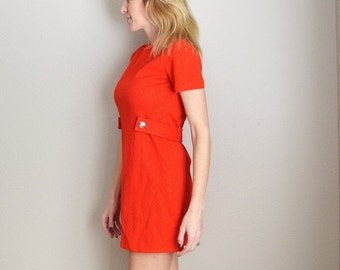 STOREWIDE 15% off SALE - Vintage 60s Tomato Red Mini Dress // womens small // petite