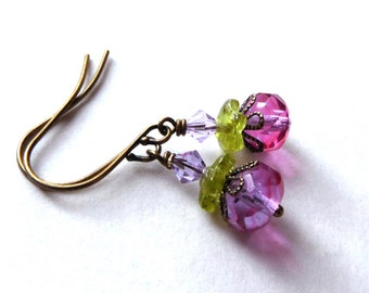 Pink purple glass bead earrings, antiqued brass, Czech glass beads, lilac and rose, touch of green, flowery layers, glass bead jewelry