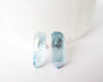 Raw Crystal Stud Earrings - Aqua Aura Quartz - Raw Stone Mineral Jewelry