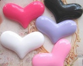 10 pcs of Clear Resin Heart Cameo Flat back 22x16mm Mix 5colors 2Style