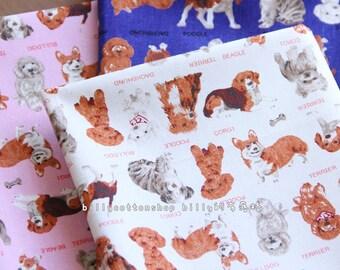 w481_45 - dogs fabircs - ( 3 color to choose) in Half Yard