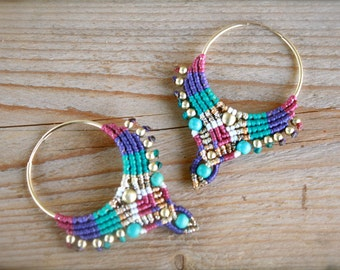 tribal earrings,  hoop earrings, macrame earrings, makrame earrings, boho earrings, rainbow earrings, purple earrings, gold earrings,
