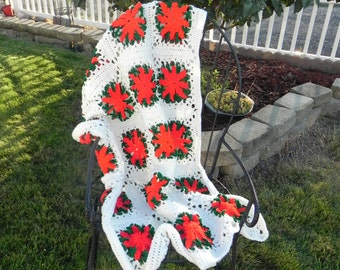Crocheted Lacey Poinsettia Afghan/throw/blanket
