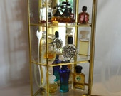 Miniature Perfume Display Case Containing 9 Vintage and Antique Bottles