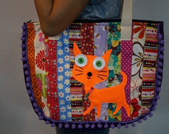 Cat bag with pom pom, Cat tote summer bag, Fabric bag, Meow quilted bag, Cat lover gift,  patchwork handbags, school bag