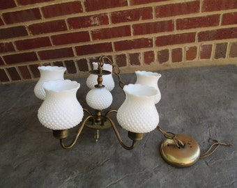 Vintage Hobnail Milk Glass And Bronze Hanging Chandelier
