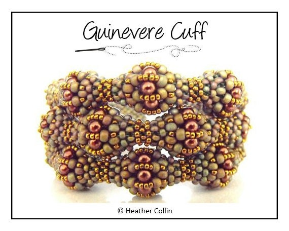 Beading Pattern, Instructions, Tutorial, Cubic Right Angle Weave, CRAW, Beaded Balls Baubles Cuff Instant Download GUINEVERE CUFF