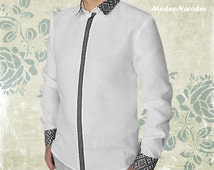 Designer button up embroidery shirt Black and white dress shirts Formal shirts Unique mens shirts Mens button up shirts White and black