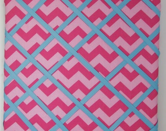 Pink Chevron Picture Board Fabric Memo Board