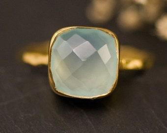 WINTER SALE - Aqua Blue Chalcedony Ring - Gemstone Ring - Stacking Ring - Gold Ring- Cushion Cut Ring