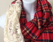 Soft Red Plaid Flannel and Lace Infinity Scarf