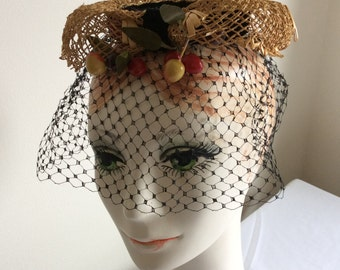 Vintage Straw with Berries or Cherries Hat with PERFECT Veil by Miss Sally Victor