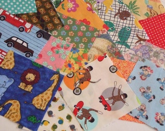 Vintage and New Cotton Fabric, 48, 5 Inch Squares,  I Spy Girl and Non Gender Quilt Making