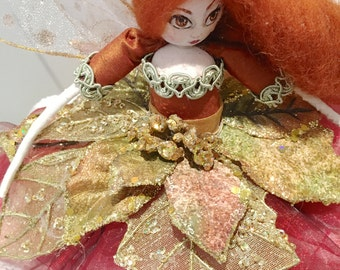 Christmas Tree Top Fairy - red, copper and gold