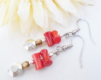 Gift for Her, Red Coral Earrings, Bohemian Earrings, Natural Hippie Beaded Earrings, Red Drop Earrings, Boho Earrings, Ethnic Earrings