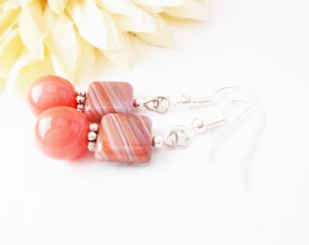 Coral Pink Bridesmaids Earrings, Clip On, Dangle, Peach Coral Drop Earrings, Pink Beaded Earrings, Girlfriend Gift, Artisan Wedding Earrings