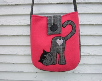 Cat, kitten crossbody bag, wool totebag