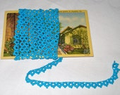 Vintage  Cotton Lace Tatting Trim in Turquoise Blue 2.25 yds