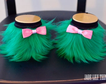 Lucky Green Furry Wrist Cuffs with Baby Pink Bows