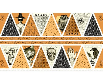SEW SCARY Pumpkin Bunting 24x42 premium cotton fabric panel from Janet Wecker Frisch for Quilting Treasures