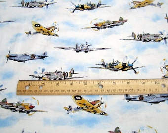 Transportation Vintage Planes White premium cotton fabric from Robert Kaufman