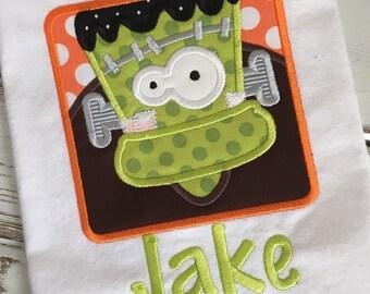 Frankenstein Box Halloween Applique Embroidery Design 5x7 6x10 8x12
