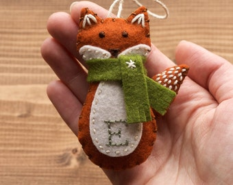 Personalized Red Fox Christmas Ornament, Felt Fox, New Baby, Baby's First Christmas, Gender Neutral, Girl, Boy, Winter, Customized Gift