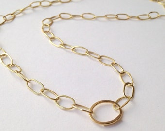 18 ct gold chain easy oval clasp - Hammered Gold Oval Chain - Pebble Necklace - Rough Luxe - Mother's Day Gift - Anniversary Present