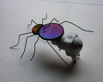 Black Spider Stained Glass Light Sensor Night Light Halloween Spooky