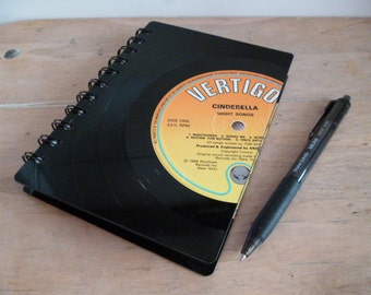 Cinderella Record Notebook A6 Recycled Vintage Vinyl Record Writing Pad 1980s Vinyl Revival Unique Gift for Music Lovers Glam Metal