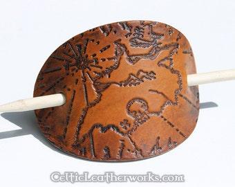 Pirate Treasure Map Leather Barrette