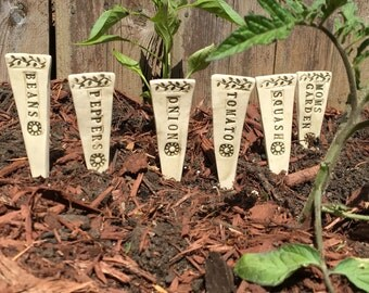 Garden Markers - Ceramic Plant Markers for Mom - Plant Stakes - Mother's Day Gift - Handmade Pottery Plant Markers