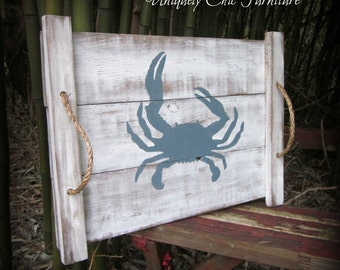 Crab Pallet Wood Art~Ottoman Tray~Coffee Table Tray~Beach~Nautical~Coastal