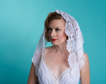 Vintage Lace Mantilla Wedding Veil - White Floral Lace  - Catholic Bridal Fashions