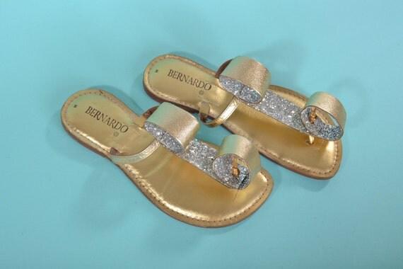 Vintage 1960s Bernardo Metallic Sandals - Gold Silver Glitter Flats - Bridal Fashions Size 7