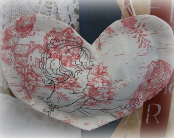 pink/ toile/ ticking/ embroidered/ sachet/ organic french lavender/toddler/ French