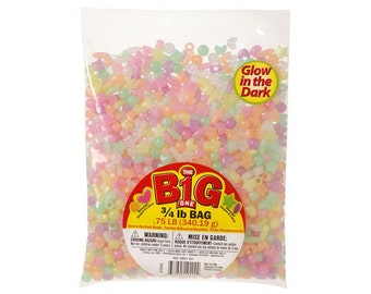 Assorted Colors and Shapes Glow in the Dark Pony Beads, 3/4 lb