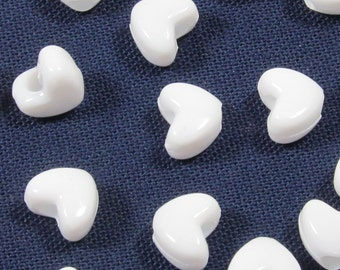 DISCONTINUED White Heart Pony Beads, 10x12mm, 100 beads