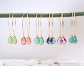 Bridal Drop Earrings. Bridesmaid. Gift. Wedding. Drop Earrings. Jewelry. Simple Earrings. Choose Color. Dangle Wedding Jewelry. Bridal.