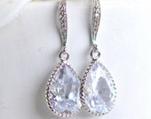 Bridal Drop Earrings. Wedding Jewelry. Cubic Zirconia Drop Earrings in Silver. Dangle Earrings. Bridal Jewelry.