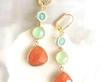 Long Jewel Dangle Earrings in Orange Aqua and Mint.  Orange Dangle Earrings.  Mint Jewel Earrings. Gift for Her.