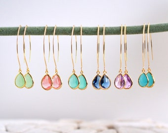 Bridal Drop Earrings. Bridesmaid. Gift. Wedding. Drop Earrings. Jewelry. Simple Earrings. Choose Color. Dangle Wedding Jewelry. Bridal.