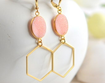 Gold Hexagon Earrings with Pink Faux Druzy Stones. Pink Earrings. Gold and Pink Geometric Earrings. Gift. Jewelry.